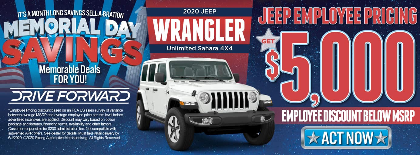 Jeep Employee Pricing | $5,000 discount on 2020 Wrangler unlimited and Sahara 4x4