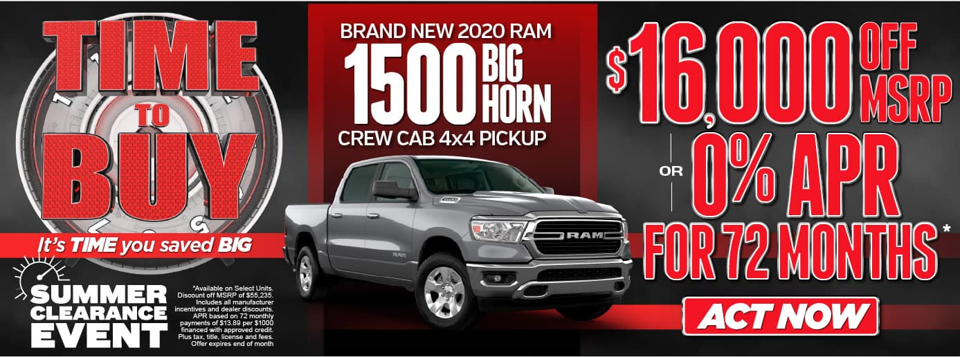 Time To Buy! It's time you saved BIG! Summer Clearance Event-Brand New 2020 RAM 1500 Big Horn Crew Cab 4x4 Pickup-$16,000 OFF MSRP or 0% APR for 72 months* Act Now
