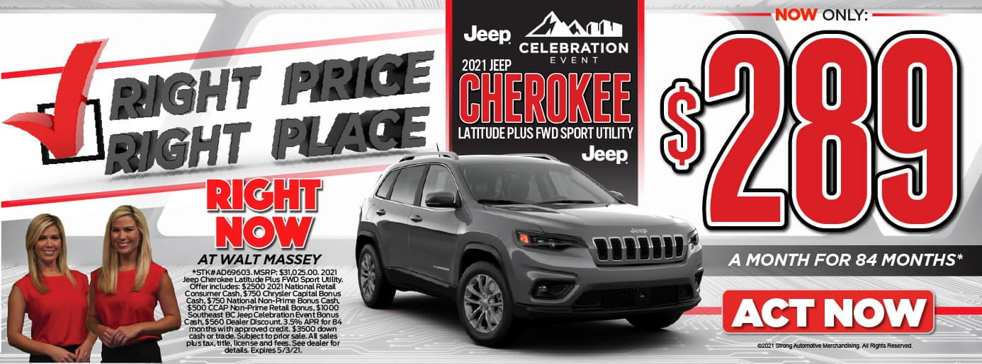 Right Price! Right PLace! 2021 Jeep Cherokee LATITUDE PLUS FWD SPORT UTILITY. $289 a month for 84 months*. Act Now.
