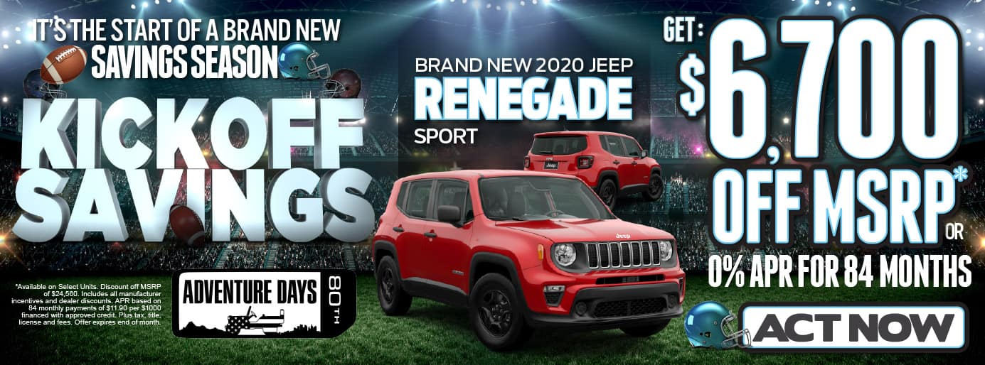 2020 JEEP Renegade Sport. $6700 OFF MSRP or 0% APR for 84 months* ACT NOW