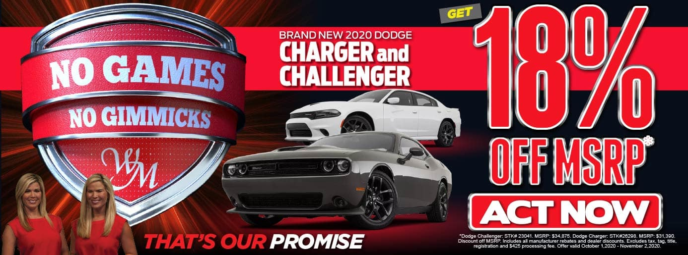 No Games. No Gimmicks. 2020 Dodge Charger or Challenger. 18% OFF MSRP* Act Now