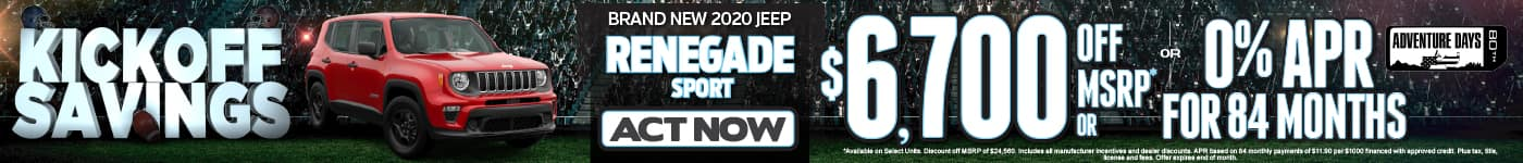 2020 JEEP Renegade Sport $6700 OFF MSRP or 0% APR for 84 months*. Act Now