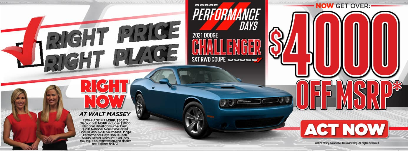 Right Price! Right PLace! 2021Dodge Challenger SXT RWD Coupe.. $4000 OFF MSRP*. Act Now.