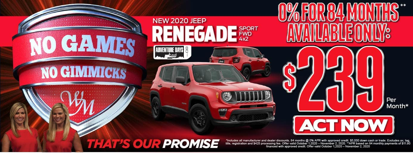 No Games. No Gimmicks. 2020 Jeep Renegade. 0% for 84 months available only: $239 a month.* Act Now