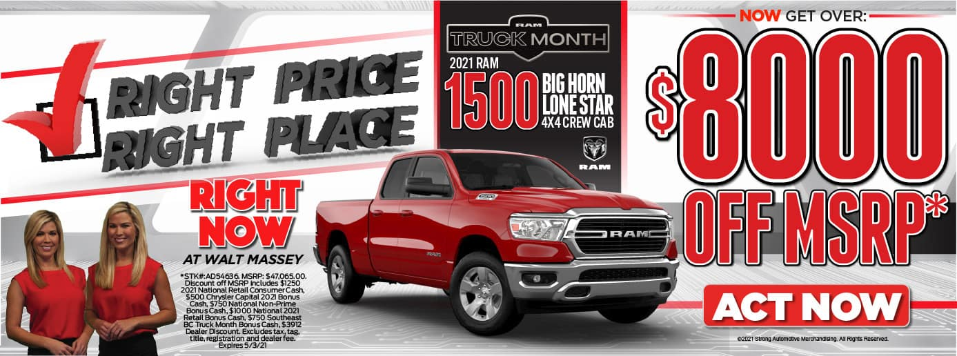 Right Price! Right PLace! 2021 RAM 1500 BigHorn Lonestar 4x4 Crew CAb. $8000 OFF MSRP*. Act Now.