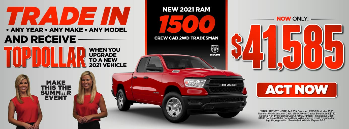 New 2021 Ram 1500 Crew Cab 2WD Tradesman - Now Only $41,585 - Act Now