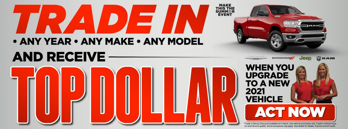 Trade in any year, any make, any model and receive top dollar when you upgrade to a new 2021 vehicle.
