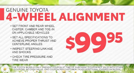 4-Wheel Alignment Special at Massey Toyota in Kinston, NC