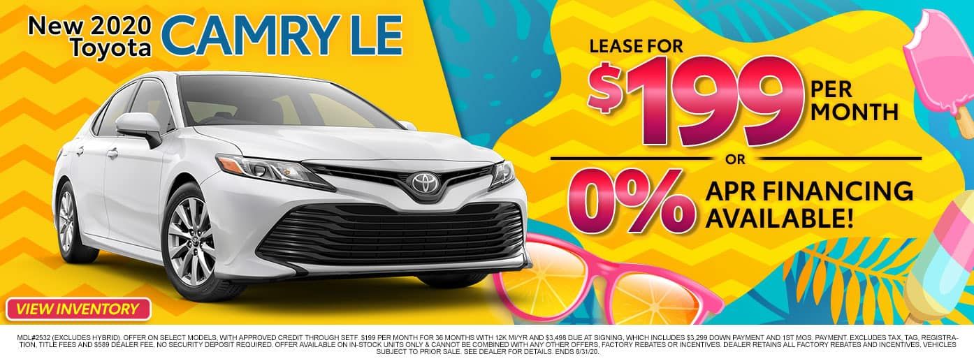 New 2020 Toyota Camry LE at Massey Toyota!
