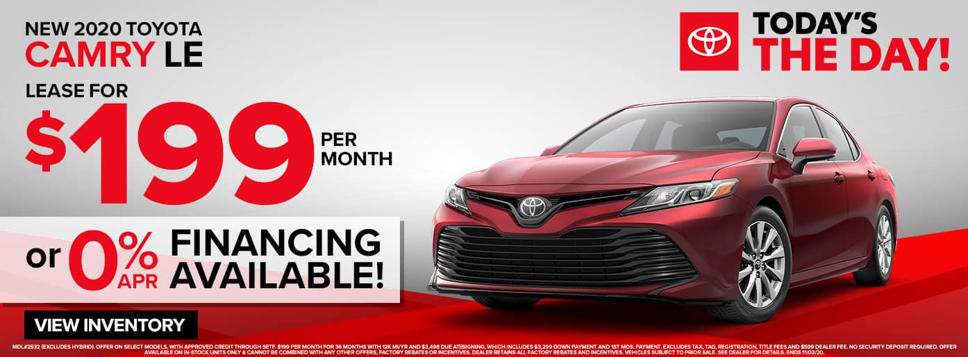 New 2020 Toyota Camry LE Lease for $199/mo. at Massey Toyota