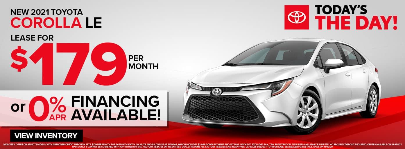 New 2021 Toyota Corolla LE at Massey Toyota!