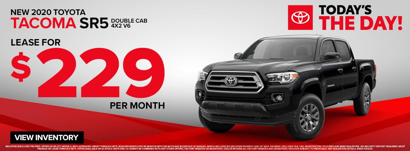 New 2020 Toyota Tacoma SR5 Lease for $229/mo. at Massey Toyota