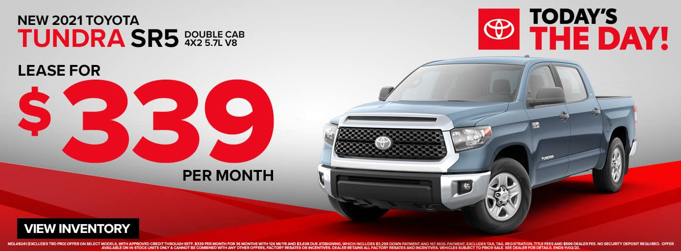 New 2021 Toyota Tundra SR5 Double Cab Lease for $339/mo. at Massey Toyota