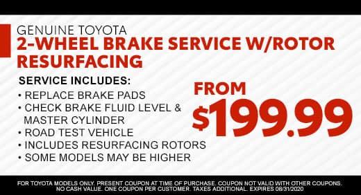 2‑Wheel Brake Service w/Rotor Resurfacing From $199.99 at Massey Toyota!