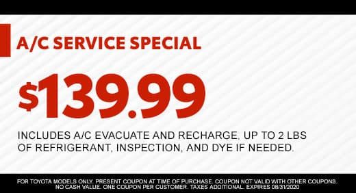 A/C SERVICE SPECIAL $139.99 at Massey Toyota!