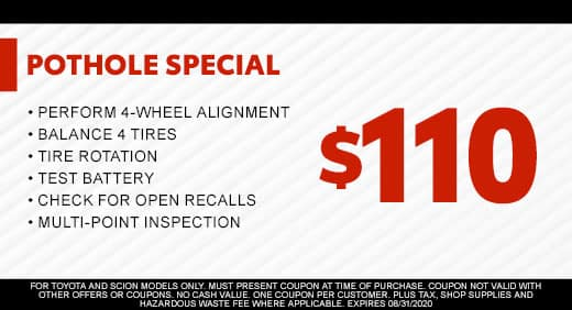 Pothole Special $110 at Massey Toyota!