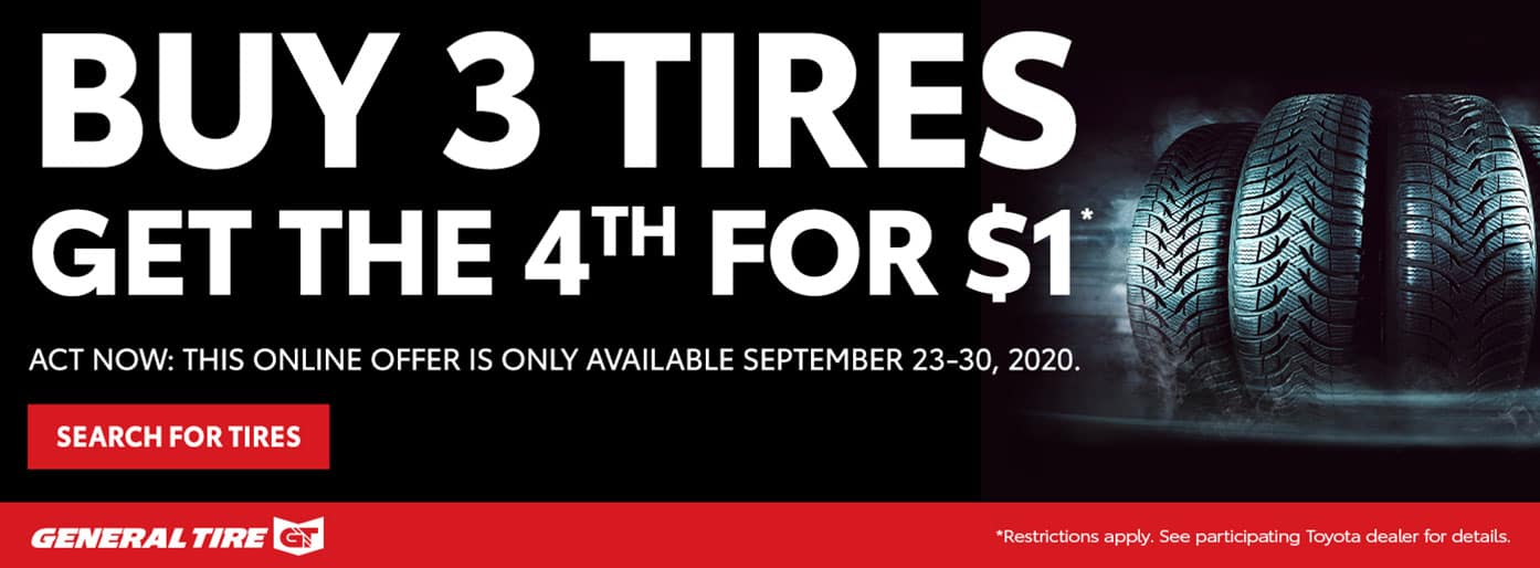 Buy 3 Tires Get 1 Free at Massey Toyota!