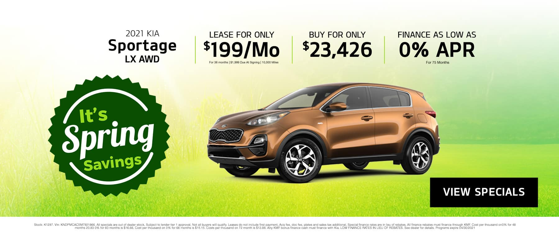 April Sportage Offer