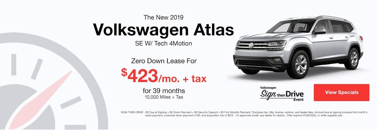 banner of the 2019 Volkswagen Atlas with zero down lease for $423 per month.