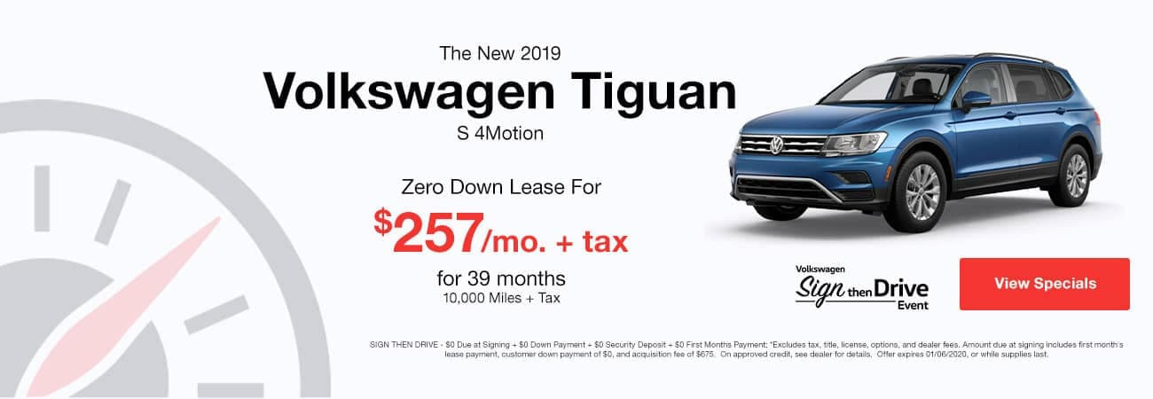 picture of 2019 Volkswagen Tiguan with zero down lease and $257 per month.