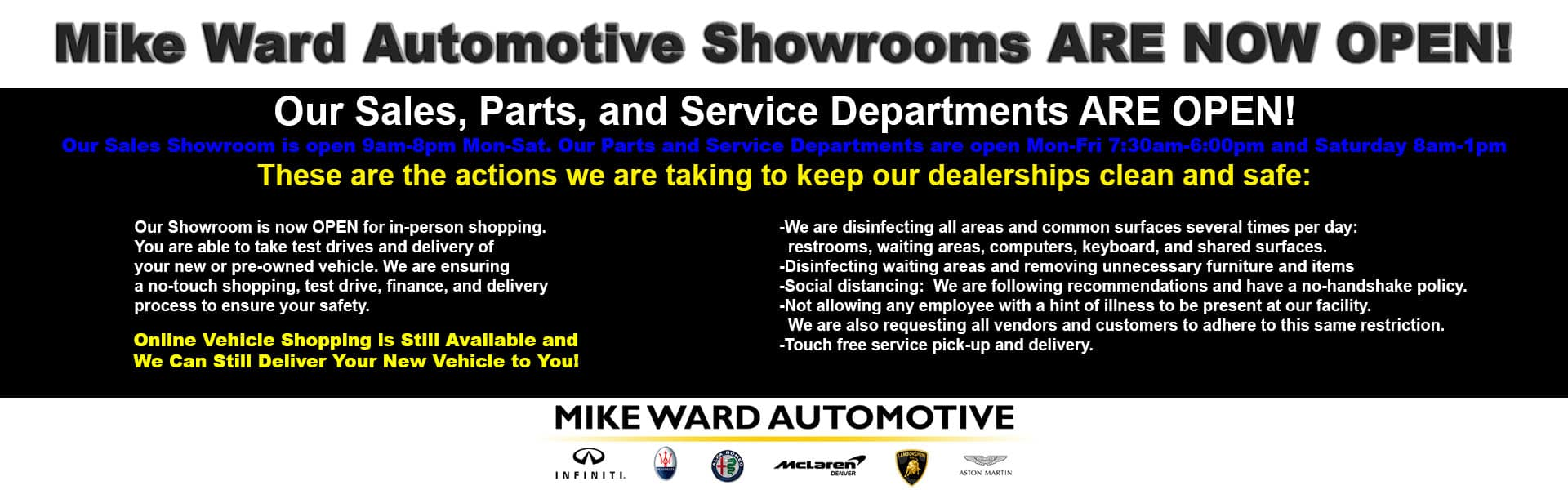 Mike Ward showrooms are open!