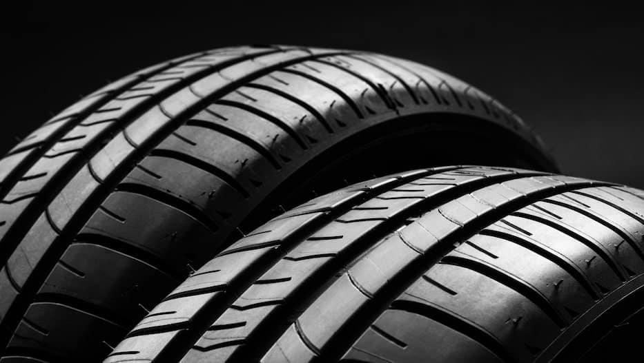 Close up of new tire tread