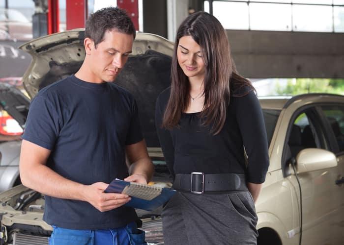 Customer talking to a mechanic