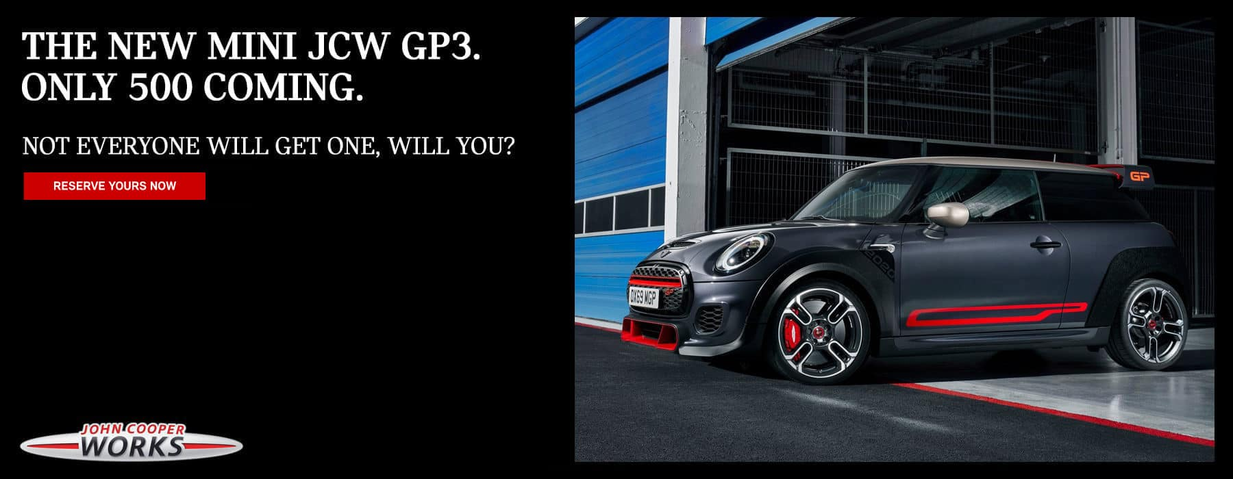 The all-new MINI JCW GP3 parked at a race track.