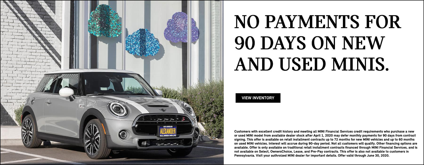 No payments for 90 to 180 days on MINI Cooper Models deferred payment program