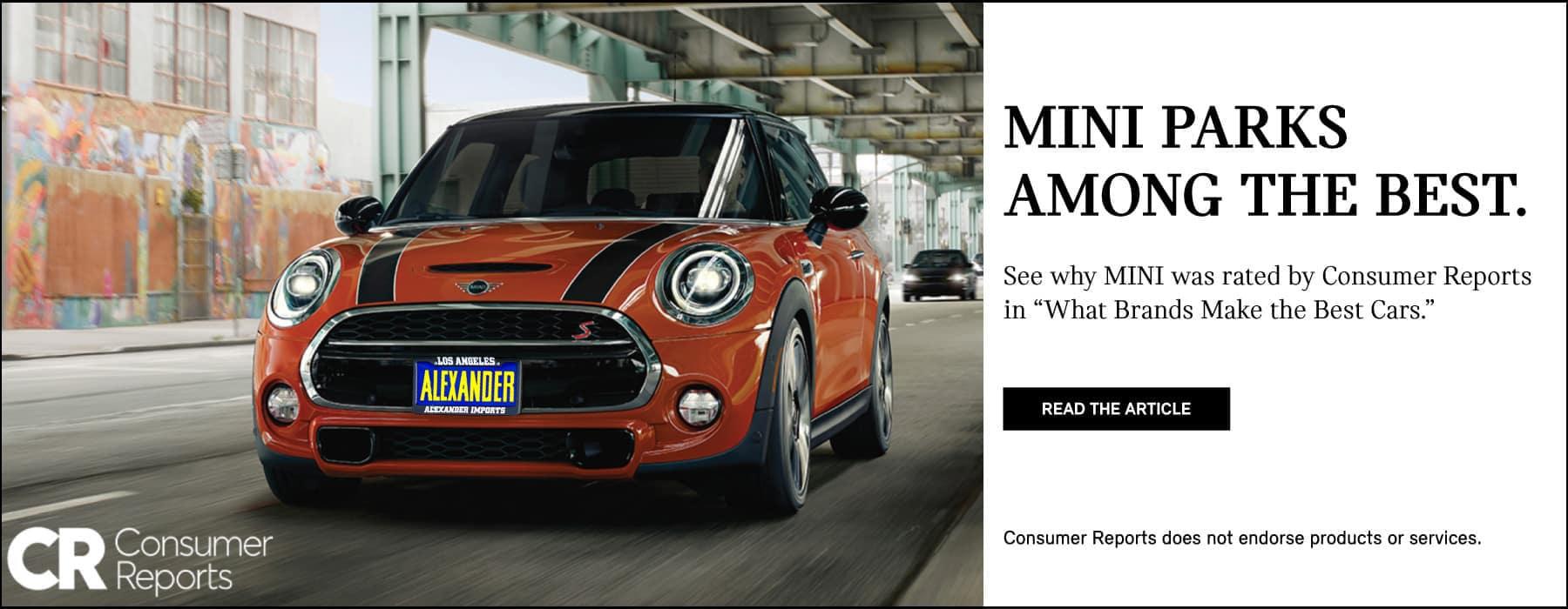 MINI parks among the best. Consumers Report. MINI Cooper S Hardtop 2 Door. Read the Article.