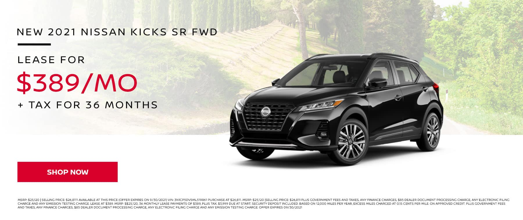 New 2021 Nissan Kicks SR FWD, Lease for $389 Per Month + Tax for 36 Months