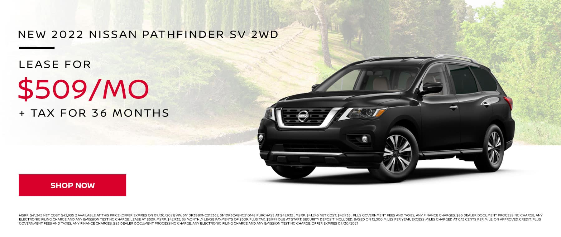 New 2022 Nissan Pathfinder SV 2WD, Lease for $509 Per Month + Tax for 36 Months