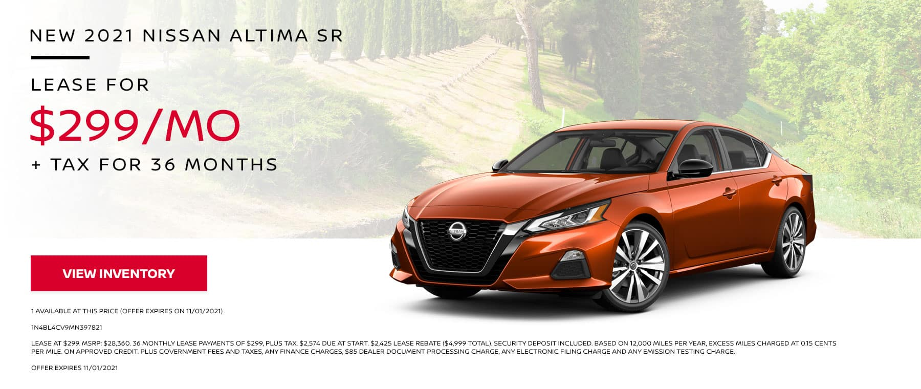 New 2021 Nissan Altima SR. Lease for $299 per Month + Tax for 36 Months