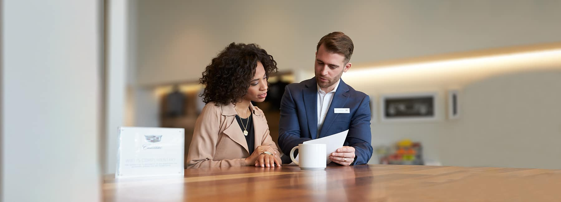 Man and woman going over paperwork