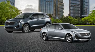 An exterior shot of a crossover and a sedan