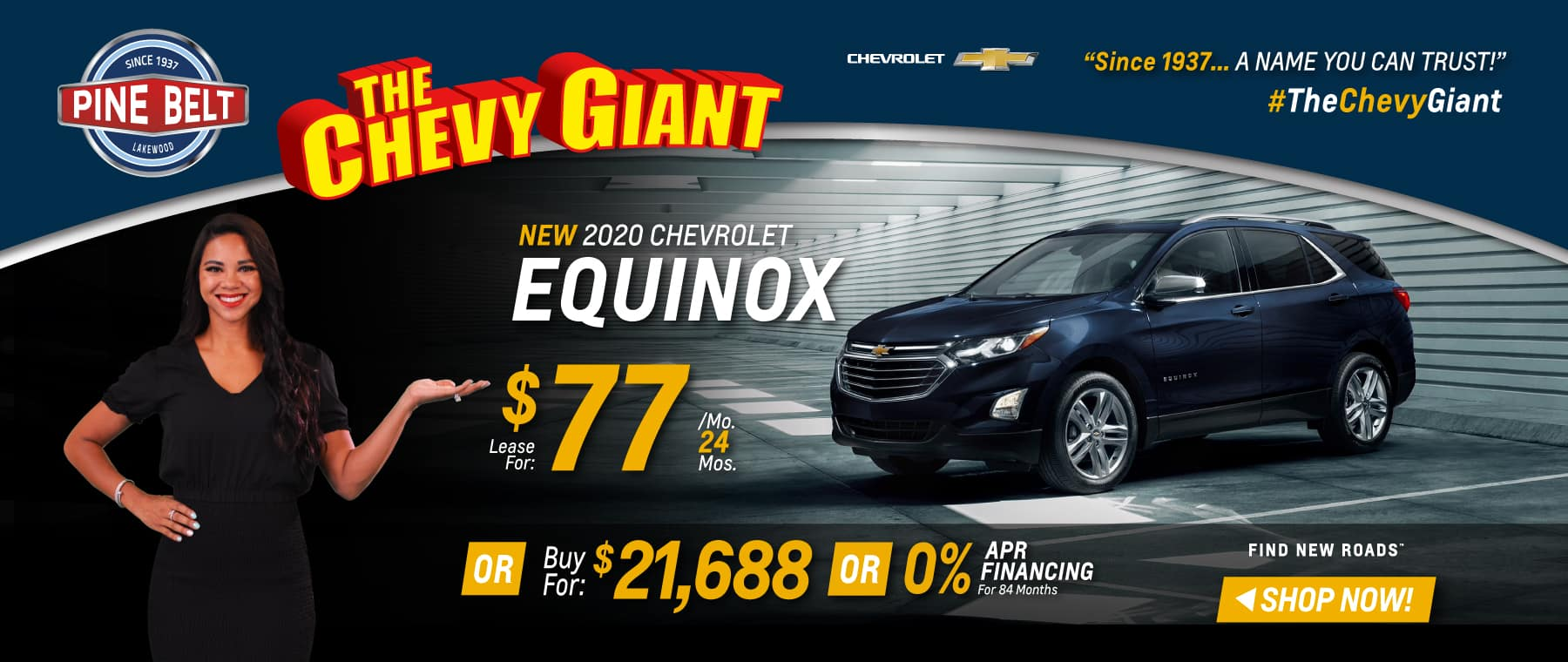 2020 Chevy Equinox Lease Deal for $77 per month or buy at $21,688