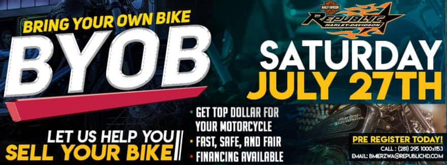 Bring your own bike event let us help you sell your bike.