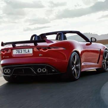 2020-Jaguar-F-TYPE-SVR-Convertible-in-Caldera-Red-driving-around-corner