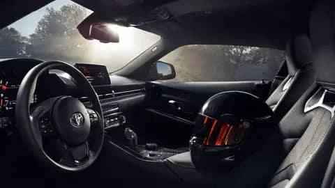 supra interior with a motorcycle helmet inside