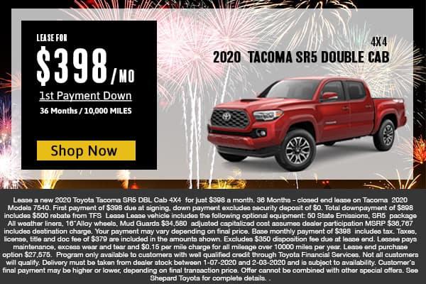2020 TOYOTA TACOMA SR5 DOUBLE CAB 4X4  LEASE