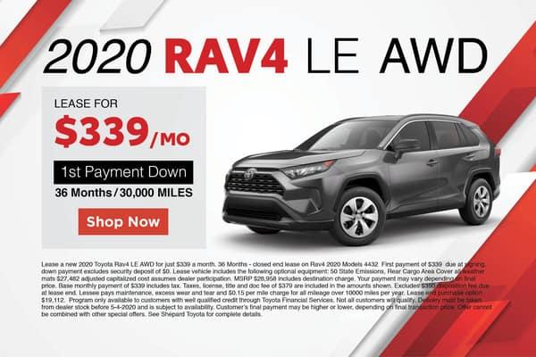 2020 TOYOTA RAV4 LE AWD LEASE