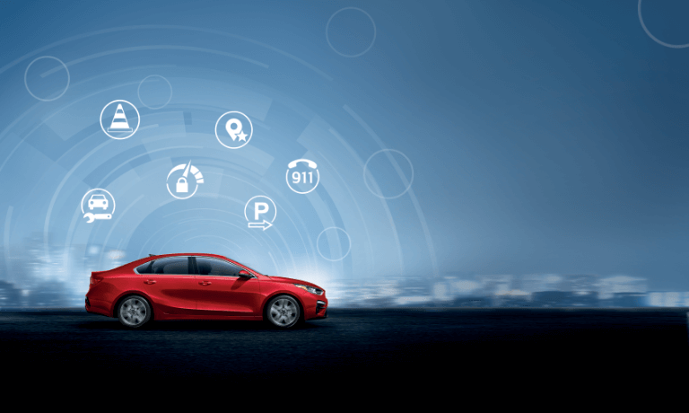 2020 Kia Forte in red showing saftey features