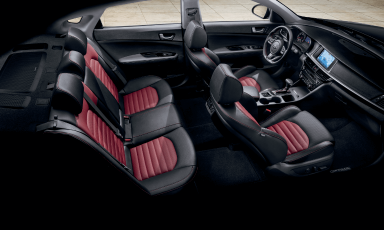 2020 Kia Optima interior seating in black and red