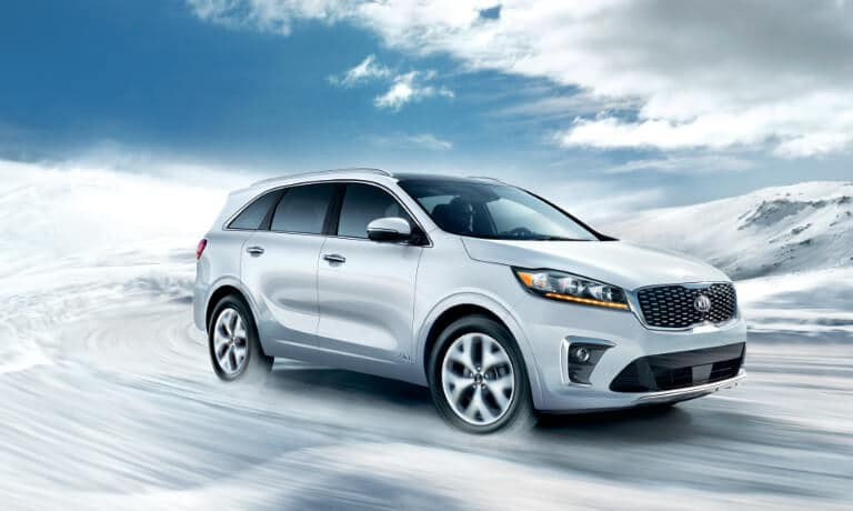 2020 Kia Sorento Exterior in white Driving On A Snowy Road