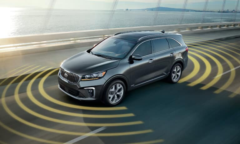 2020 Kia Sorento Exterior in gray Driving On The Highway With Collision Sensors