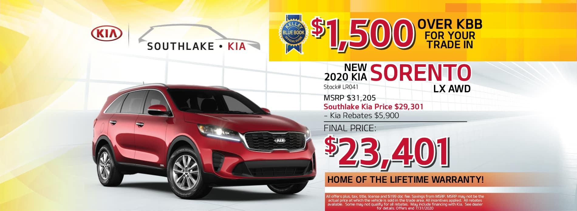 2020 Kia Sorento LX Lease Offer | Southlake Kia