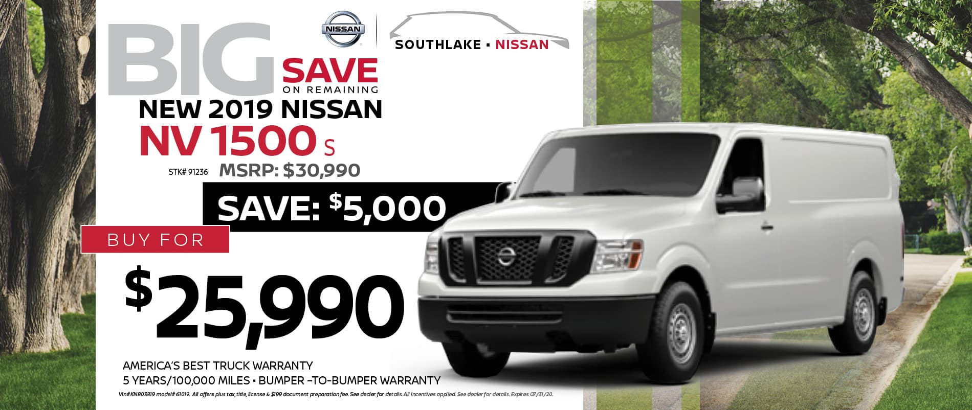 2019 Nissan NV CPO Offer