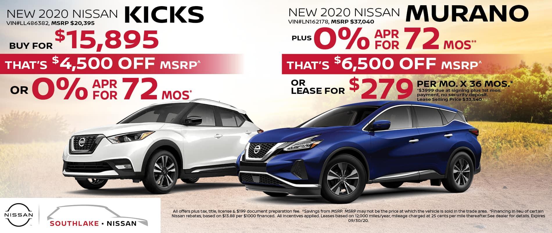 2020 Nissan Kicks & Murano Finance or Lease Offer | Merriville, IN