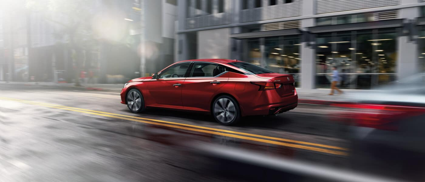 A red 2020 Nissan Altima