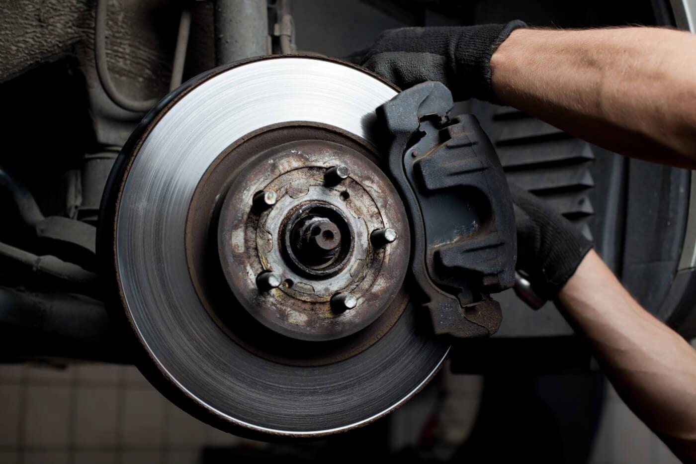 A closeup of car brakes